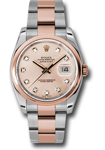 Rolex Watches - Datejust 36mm - Steel and Gold Pink Gold - Domed Bezel - Oyster - Style No: 116201 chdo