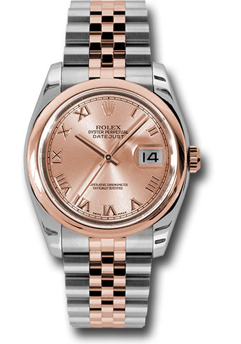 Rolex Watches - Datejust 36mm - Steel and Gold Pink Gold - Domed Bezel - Jubilee - Style No: 116201 chrj