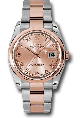 Rolex Watches - Datejust 36mm - Steel and Gold Pink Gold - Domed Bezel - Oyster - Style No: 116201 chro