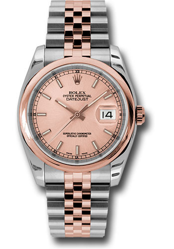 Rolex Watches - Datejust 36 Steel and Pink Gold - Domed Bezel - Jubilee - Style No: 116201 chsj