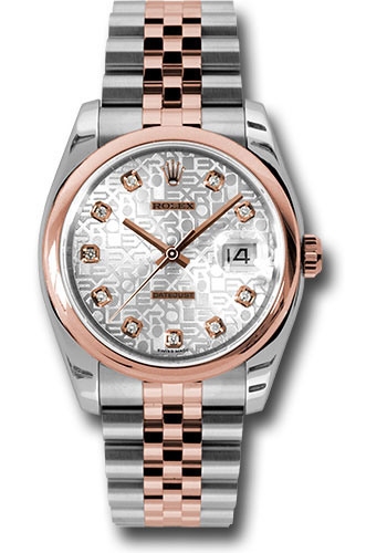 Rolex Watches - Datejust 36 Steel and Pink Gold - Domed Bezel - Jubilee - Style No: 116201 sjdj