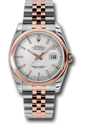 Rolex Watches - Datejust 36mm - Steel and Gold Pink Gold - Domed Bezel - Jubilee - Style No: 116201 ssj