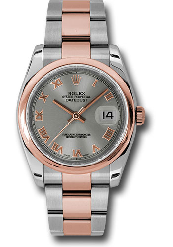 Rolex Watches - Datejust 36mm - Steel and Gold Pink Gold - Domed Bezel - Oyster - Style No: 116201 stro