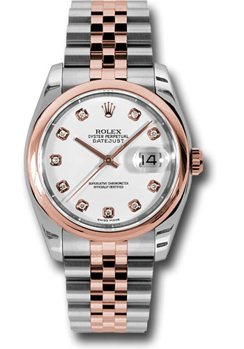 Rolex Watches - Datejust 36 Steel and Pink Gold - Domed Bezel - Jubilee - Style No: 116201 wdj