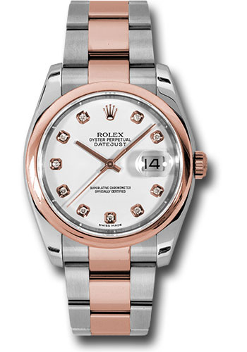 Rolex Watches - Datejust 36mm - Steel and Gold Pink Gold - Domed Bezel - Oyster - Style No: 116201 wdo