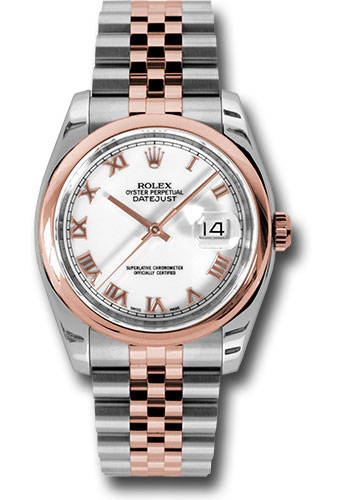 Rolex Watches - Datejust 36 Steel and Pink Gold - Domed Bezel - Jubilee - Style No: 116201 wrj