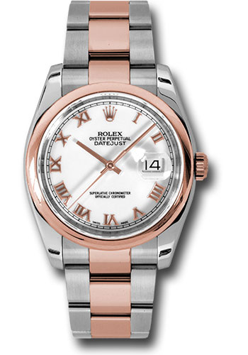 Rolex Watches - Datejust 36mm - Steel and Gold Pink Gold - Domed Bezel - Oyster - Style No: 116201 wro