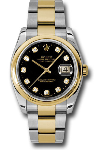 Rolex Watches - Datejust 36mm - Steel and Gold Yellow Gold - Domed Bezel - Oyster - Style No: 116203 bkdo