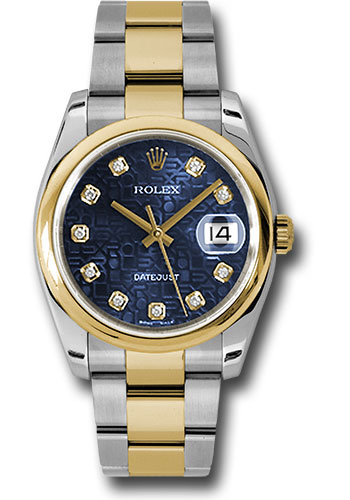 Rolex Watches - Datejust 36 Steel and Yellow Gold - Domed Bezel - Oyster - Style No: 116203 bljdo