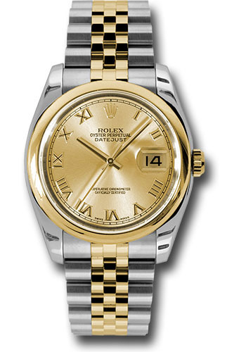 Rolex Watches - Datejust 36 Steel and Yellow Gold - Domed Bezel - Jubilee - Style No: 116203 chrj