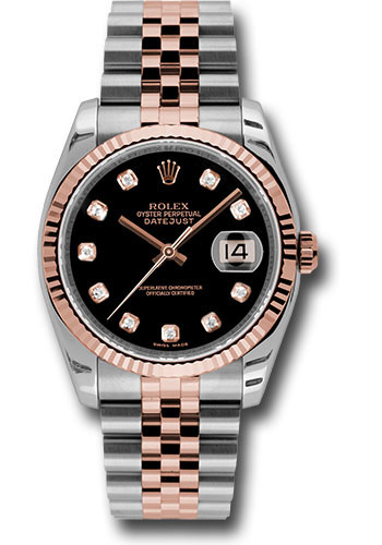 Rolex Watches - Datejust 36mm - Steel and Gold Pink Gold - Fluted Bezel - Jubilee - Style No: 116231 bkdj