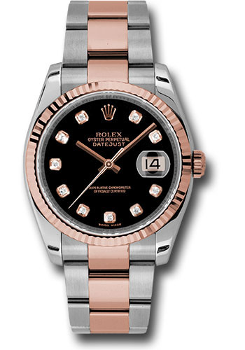Rolex Watches - Datejust 36 Steel and Pink Gold - Fluted Bezel - Oyster - Style No: 116231 bkdo