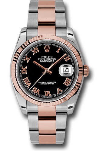 Rolex Watches - Datejust 36 Steel and Pink Gold - Fluted Bezel - Oyster - Style No: 116231 bkro