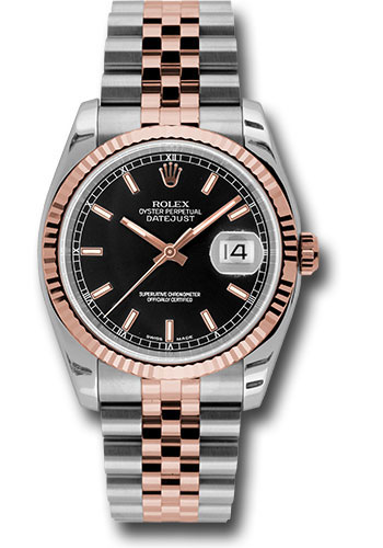 Rolex Watches - Datejust 36mm - Steel and Gold Pink Gold - Fluted Bezel - Jubilee - Style No: 116231 bksj