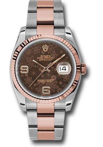 Rolex Watches - Datejust 36 Steel and Pink Gold - Fluted Bezel - Oyster - Style No: 116231 brfdao