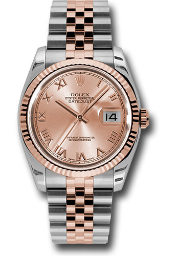 Rolex Watches - Datejust 36mm - Steel and Gold Pink Gold - Fluted Bezel - Jubilee - Style No: 116231 chrj