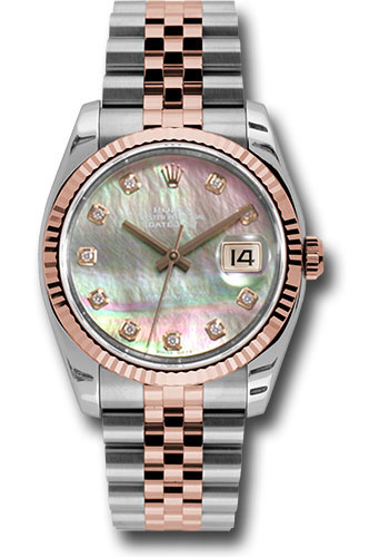Rolex Watches - Datejust 36mm - Steel and Gold Pink Gold - Fluted Bezel - Jubilee - Style No: 116231 dkmdj