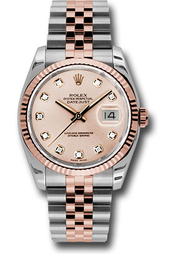 Rolex Watches - Datejust 36 Steel and Pink Gold - Fluted Bezel - Jubilee - Style No: 116231 chdj