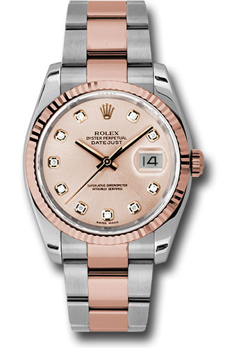 Rolex Watches - Datejust 36 Steel and Pink Gold - Fluted Bezel - Oyster - Style No: 116231 chdo