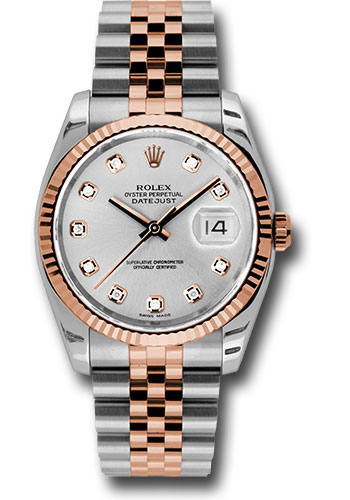 Rolex Watches - Datejust 36 Steel and Pink Gold - Fluted Bezel - Jubilee - Style No: 116231 sdj