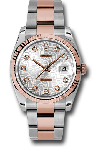 Rolex Watches - Datejust 36 Steel and Pink Gold - Fluted Bezel - Oyster - Style No: 116231 sjdo