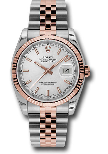 Rolex Watches - Datejust 36 Steel and Pink Gold - Fluted Bezel - Jubilee - Style No: 116231 ssj