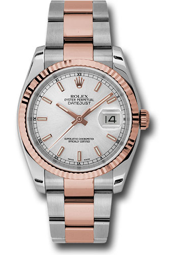 Rolex Watches - Datejust 36 Steel and Pink Gold - Fluted Bezel - Oyster - Style No: 116231 sso