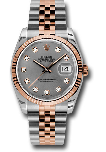 Rolex Watches - Datejust 36 Steel and Pink Gold - Fluted Bezel - Jubilee - Style No: 116231 stdj