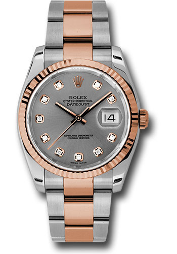 Rolex Watches - Datejust 36 Steel and Pink Gold - Fluted Bezel - Oyster - Style No: 116231 stdo