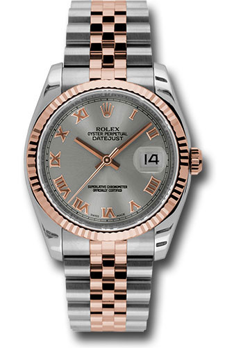 Rolex Watches - Datejust 36mm - Steel and Gold Pink Gold - Fluted Bezel - Jubilee - Style No: 116231 strj