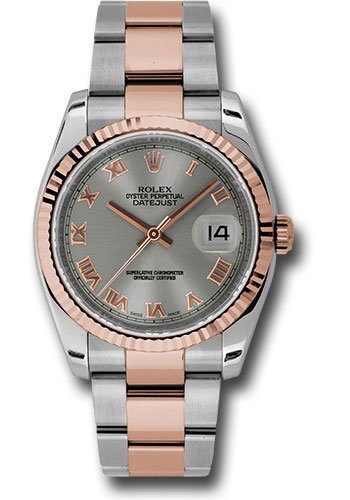 Rolex Watches - Datejust 36 Steel and Pink Gold - Fluted Bezel - Oyster - Style No: 116231 stro