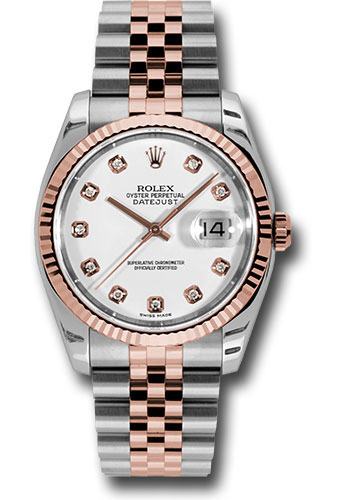 Rolex Watches - Datejust 36 Steel and Pink Gold - Fluted Bezel - Jubilee - Style No: 116231 wdj