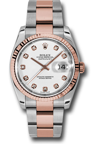 Rolex Watches - Datejust 36 Steel and Pink Gold - Fluted Bezel - Oyster - Style No: 116231 wdo