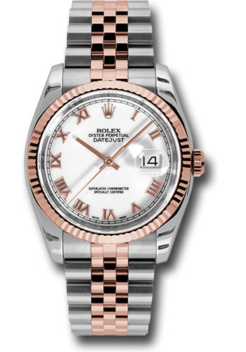 Rolex Watches - Datejust 36 Steel and Pink Gold - Fluted Bezel - Jubilee - Style No: 116231 wrj