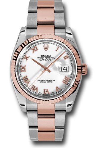 Rolex Watches - Datejust 36 Steel and Pink Gold - Fluted Bezel - Oyster - Style No: 116231 wro