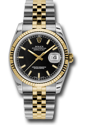 Rolex Watches - Datejust 36 Steel and Yellow Gold - Fluted Bezel - Jubilee - Style No: 116233 bksj