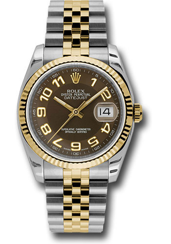 Rolex Watches - Datejust 36 Steel and Yellow Gold - Fluted Bezel - Jubilee - Style No: 116233 braj