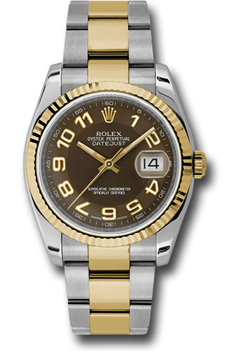 Rolex Watches - Datejust 36 Steel and Yellow Gold - Fluted Bezel - Oyster - Style No: 116233 brao
