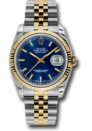 Rolex Watches - Datejust 36 Steel and Yellow Gold - Fluted Bezel - Jubilee - Style No: 116233 blsj