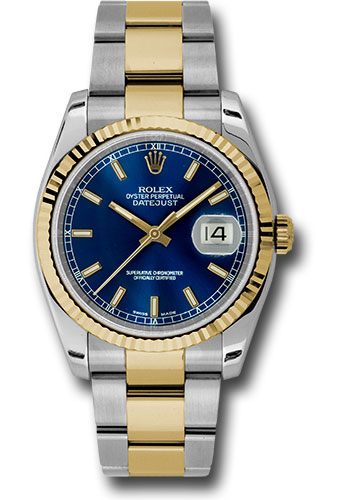 Rolex Watches - Datejust 36 Steel and Yellow Gold - Fluted Bezel - Oyster - Style No: 116233 blso