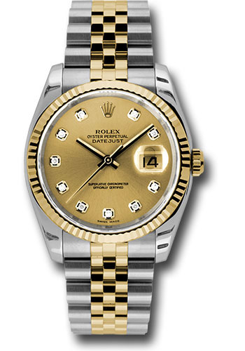 Rolex Watches - Datejust 36 Steel and Yellow Gold - Fluted Bezel - Jubilee - Style No: 116233 chdj