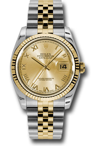Rolex Watches - Datejust 36 Steel and Yellow Gold - Fluted Bezel - Jubilee - Style No: 116233 chrj