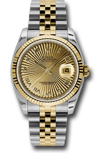 Rolex Watches - Datejust 36 Steel and Yellow Gold - Fluted Bezel - Jubilee - Style No: 116233 chsbrj