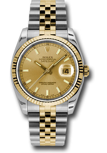 Rolex Watches - Datejust 36mm - Steel and Gold Yellow Gold - Fluted Bezel - Jubilee - Style No: 116233 chsj