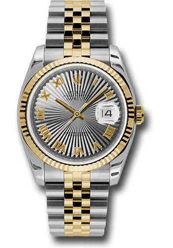 Rolex Watches - Datejust 36mm - Steel and Gold Yellow Gold - Fluted Bezel - Jubilee - Style No: 116233 gsbrj