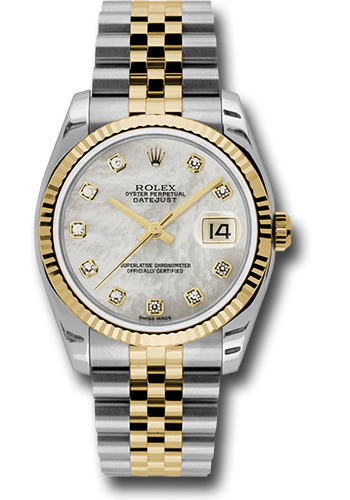 Rolex Watches - Datejust 36mm - Steel and Gold Yellow Gold - Fluted Bezel - Jubilee - Style No: 116233 mdj