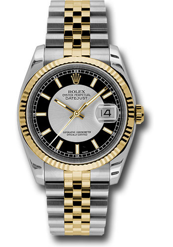 Rolex Watches - Datejust 36mm - Steel and Gold Yellow Gold - Fluted Bezel - Jubilee - Style No: 116233 stbksj