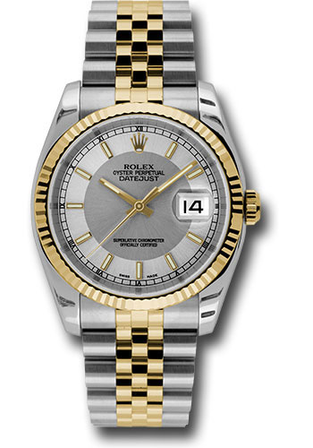 Rolex Watches - Datejust 36mm - Steel and Gold Yellow Gold - Fluted Bezel - Jubilee - Style No: 116233 stsisj
