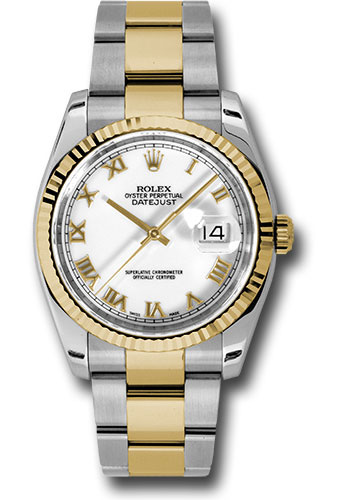 Rolex Watches - Datejust 36 Steel and Yellow Gold - Fluted Bezel - Oyster - Style No: 116233 wro
