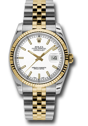 Rolex datejust 36 steel and yellow gold fluted bezel jubilee for Rolex date just 36